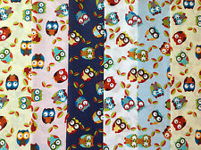 24 JELLY ROLL STRIPS 100% COTTON PATCHWORK FABRIC OWLS 22 INCH LONG