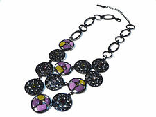 Bijou alliage noirci  multicolore L un coeur et NOA necklace