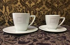 SET OF 2 NESPRESSO COFFEE ESPRESSO MUGS CUPS & SAUCERS EMBOSSED PORCELAIN WHITE