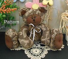PATTERN Primitive Raggedy Shabby Chic Teddy Bear Doll Spring Country FolkArt #88