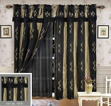 Luxury Lined Curtain Set and Valance Window Treatment 2 Panel LIDA BLACK
