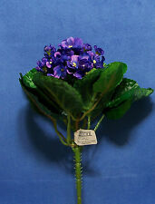 "Quality 9"" Choose African Violet Gloxinia Artificial Faux Silk Flower Bush"