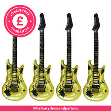 12x Inflatable Blow Up Guitar 106cm Gold Party Fancy Dress Birthday Disco
