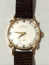 VTG 1950'S JAEGER LECOULTRE 14K GOLD SWISS MANUAL, VXN MOVEMENT LEATHER WATCH