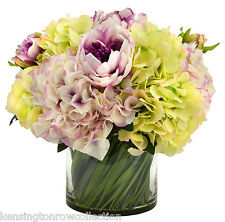 FLOWER ARRANGEMENTS - HYDRANGEA & PEONY SILK FLOWER ARRANGEMENT