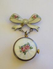 Gorgeous Antique Sterling Enamel Guilloche GRUEN Ladies Dangle Watch  Pin