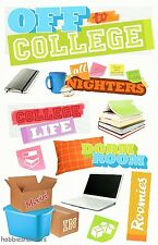 Paper House 3d Glitter Stickers-Computadora Dormitorio College Libros-Off To College
