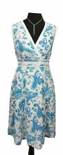 JOHN ROCHA Dress Size 12 Ivory & Blue Floral L41in Casual Boho Wedding