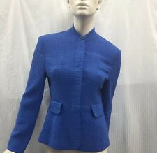 Karen Millen UK 14 Fits Aus Size 10 Blue Textured Wool mix Jacket Blazer