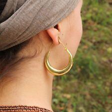 Large Plain Shiny Hollowed Hoop Tribal Earrings in Brass