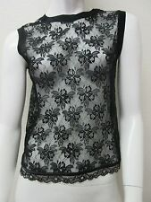 D&G DOLCE&GABBANA Sexiest Sleeveless Floral Lace Full Zip Back Top Size 42