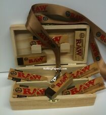 RAW Stash Box Bundle with 5 Packs Classic 1 1/4 Rolling Papers +TIPS + LANYARD