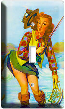 VINTAGE FISHING AD PINUP GIRL NEW SINGLE LIGHT SWITCH WALL PLATE ART DECORATION