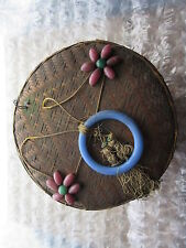 Old Vintage Oriental Sewing Basket Glass Beads on Cover
