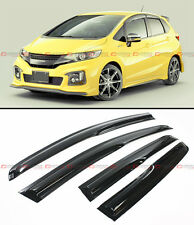 JDM MUGEN 3D STYLE SMOKED WINDOW VISOR VENT SHADE FOR 2014-15 3RD GEN HONDA FIT