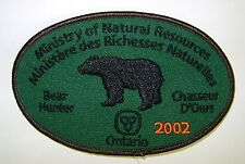 2002 ONTARIO MNR BEAR HUNTING PATCH badge,flash,crest,moose,deer,elk,Canadian