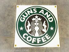 Guns and Coffee banner sign Second Amendment patriotic shop bedroom wall garage
