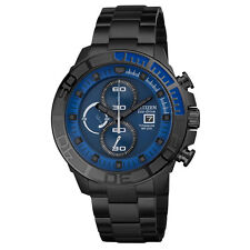 NEW CITIZEN ECO DRIVE MENS BLACK IP TITANIUM CHRONOGRAPH DIVERS WATCH CA0525-50L