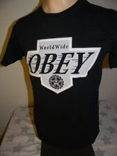 retro vtg style OBEY WORLDWIDE black t shirt men's small LA KINGS style logo