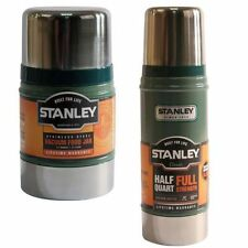 2PC STANLEY CLASSIC VACUUM FOOD JAR FLASK STAINLESS STEEL HOT COLD THERMOS 0.75L
