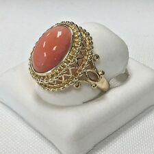 Elegant 14KY Gold OVAL SHAPED CABOCHON CUT GENUINE Orange CORAL RING size 7