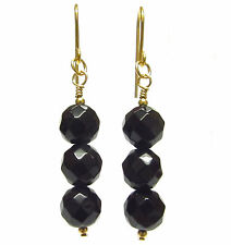 9ct Gold Drop Earrings with Genuine 8mm Faceted Black Onyx Gemstone Beads