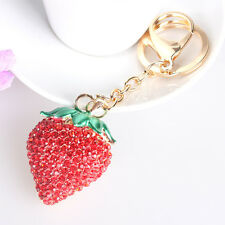 Strawberry Red Lovely Charm Pendant Rhinestone Crystal Purse Bag Key Ring Chain