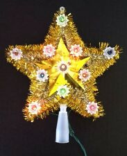 Christmas Tree Top Topper Gold 5 Point Star Gold Tinsel 11 Multi Colored Lights
