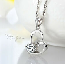 925 Silver heart w white crystal Rhinestones pendant necklace - SH6