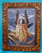 High state of the art rare big embroidered painting portrait ODIN reproduction