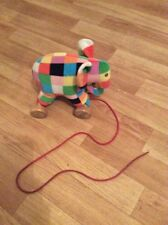 Elmer The Elephant soft plush pull along toy Vintage Toy