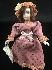 Antique Bisque Miniature Dollhouse Doll Re-Dressed Victorian Button Boots Lady