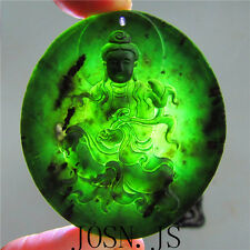 Chinese natural black green jade Jadeite pendant necklace bodhisattva hand-carve