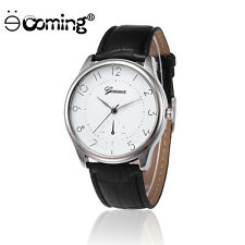 Geneva Military Men Stainless Steel Casual Leather Quartz Analog WristWatch %L2