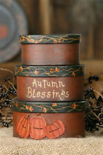 Primitive Country Fall Autumn Blessings Stacking Boxes S/3 Pumpkins Bittersweet