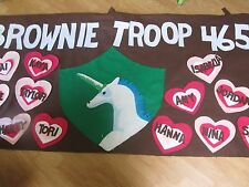 Scout Troop banner 3'X6' parade custom personalized felt- brownie with hearts
