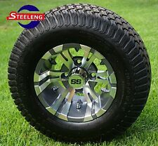"GOLF CART 10"" GUNMETAL/MACHINED VAMPIRE WHEELS/RIMS and 20"" STREET/TURF TIRES(4)"