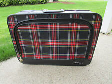 Vtg RED PLAID Fleetwood 500 Cloth Suitcase VERY CLEAN
