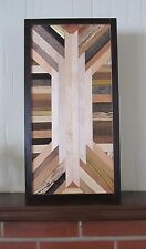 Handmade Reclaimed Mixed Wood Southwestern Rustic Modern Art Wall Art Hanging