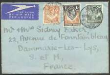 Northern Rhodesia To France Airmail Cover 1947 w 3 Stamps L@@K