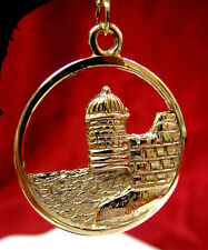 14K YELLOW GOLD ISRAEL JERUSALEM TEMPLE TEXTURED ROUND PENDANT NECKLACE
