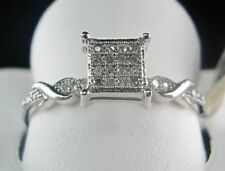 Women's Micro Pave SOLID 10K White Gold Fn 925 Silver 0.10 CTW Diamond Head Ring