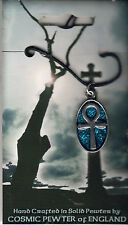 Cosmic Pewter Blue Ankh Thong Necklace - New On Card