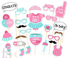 25 PCS Pink Baby Shower Party Baby Bottle Masks Photo Booth Props Favor For Girl