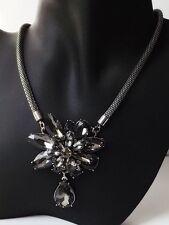 Halskette Kette Collier Vintage Blüte Tropfen Kristall Strass grau antik silber