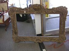 """1800's Hand Carved Antique Wood Picture Frame 52"""" x 37"""", AS SEEN IN THE PHOTOS."""