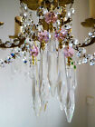 Pretty PINK Crystal & Cut Glass Crystal Icicle Chandelier drops x 5 spare parts