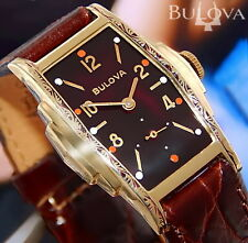 1938 Vintage EXECUTIVE Bulova NY gold DeCo CURVEX * COoL CaSe & DIal men's Watch
