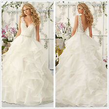 New White/Ivory Lace Bridal Gown Wedding Dress Size 4 6 8 10 12 14 16 18