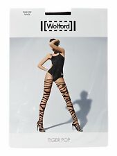 BNIP WOLFORD 18867 8458 TIGER POP TIGHTS SAHARA/BLACK MADE IN AUSTRIA XS UK 6-8